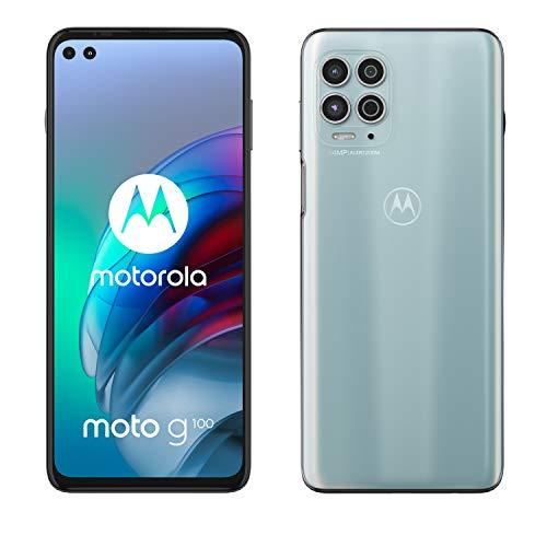 "Motorola moto g100 (6,7"" - Display, 64-MP-Kamera, 8/128 GB, 5000 mAh, Android 11) Magic Weiss, inkl. Docking-Station + TV-Now-Gutschein [Exkl. bei Amazon]"