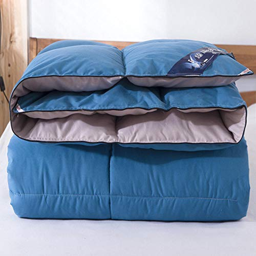 CHOU DAN Duvet Double Bed 15 Tog,Thickened Duvet 95 White Goose Down Winter Quilt Single Spring And Autumn Quilt Double Warm Quilt-Blue Gray_150x200cm 3000g