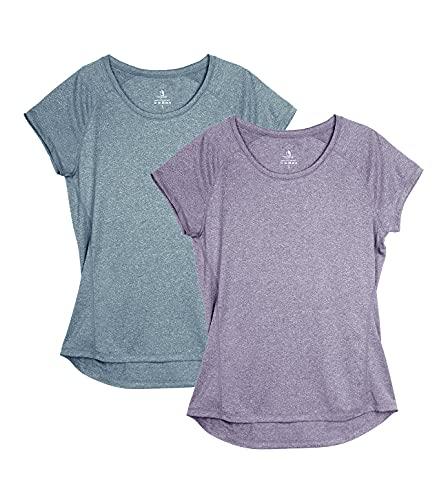 icyzone Damen Fitness Sport T-Shirt Kurzarm Laufshirt Gym Training Funktion Shirt, 2er-Pack (M, Violett/Navy)