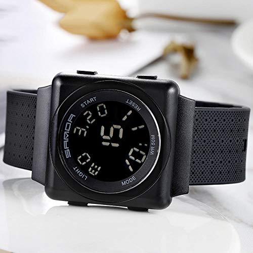 SANDA Relojes Mujer,Reloj Masculino Reloj electrónico Moda Luminoso Impermeable Estudiante Fuerzas Especiales Deportes Juveniles Reloj multifunción-Negro Completo