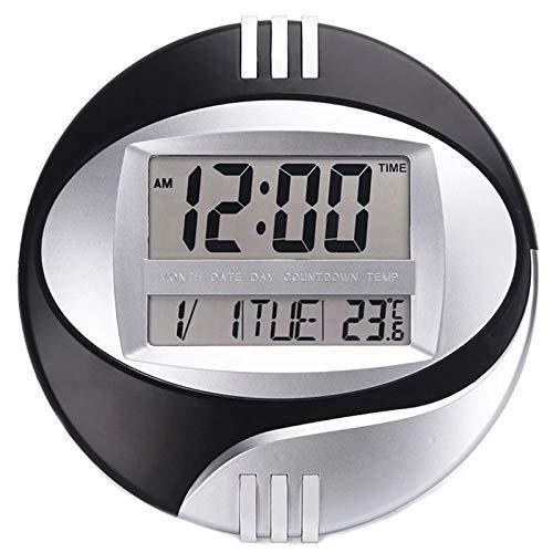 hufeng Reloj de Pared Pantalla de Temperatura Reloj electrónico de Pared Digital LCD Calendario Moderno Reloj de Pulsera LED Mudo de la decoración de la Oficina en casa Negro