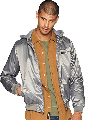 Members Only Men s Bomber Jacket with Detachable Hood, Charcoal, L