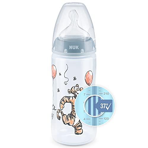 NUK First Choice+ Disney Babyflasche | 0–6Monate | Temperature Control Anzeige | 300 ml Flasche mit Anti-KoliK-Ventil | BPA-frei | Trinksauger aus Silikon | Winnie Puuh (Blau)
