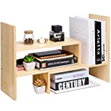 Desktop Organizer Office Storage Rack Adjustable Natural Wood Display Book Shelf Stand Rack Wood Caddy Desk Organizer Set Office Storage Expandable Tabletop