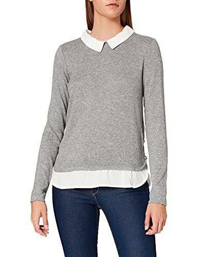 Springfield Camiseta Cuello Bimateria T-Shirt, Grigio Medio, S Donna