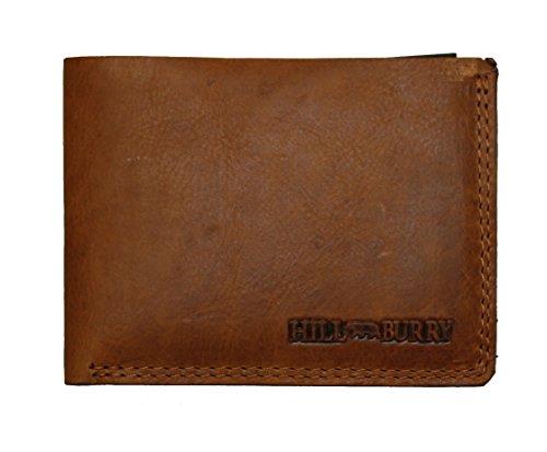 Hill Burry - Portafoglio da uomo in vera pelle, sottile, senza portamonete, colore: Nero/Marrone