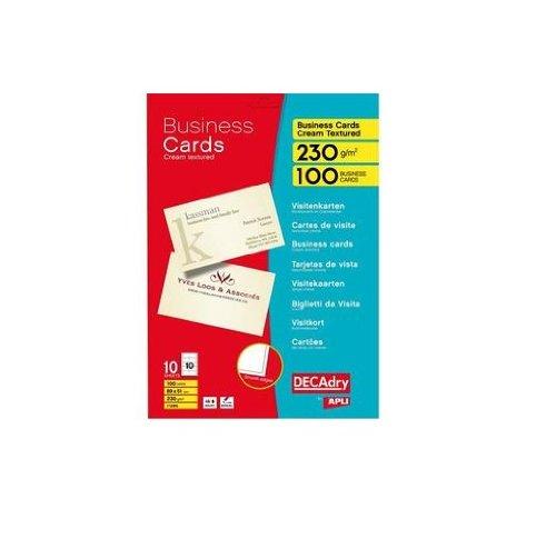 Apli 11285 - Bolsa con 10 hojas de tarjetas visita, 89 x 51 mm