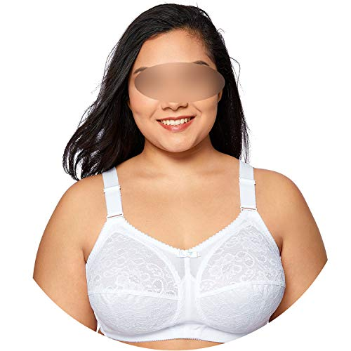 Women's Plus Size Non Wired Full Cup Lace Unlined Firm Support Bra Molded,White03,B,42
