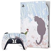 PS5 デジタルエディション 専用スキンシール プレイステーション5 専用 スキンシール 裏表 全面セット カバー ケース 保護 フィルム ステッカー デコ アクセサリー 005005 アニマル 猫 鳥 ピンク 水色