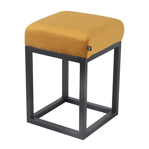 Damiware Brucy Taburete bajo – 50 cm de altura del asiento – Taburete – Taburete – Decorativo – Muebles de acento – Multifunción – Industrial – Vintage (terciopelo amarillo ocre)