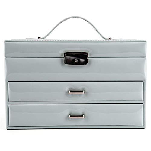 ZKORN 3 Schicht Leder Schmuckschatulle mit 2 Schubladen mit Griffen Weibliche Butler Kommode 10x6.7x6.3inches