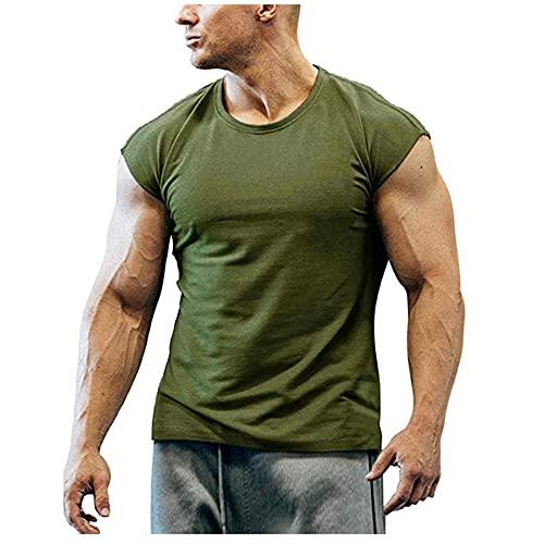 Hombres Manga Corta Slim Fit Elástico Cuello Redondo Shirt Correr Color Sólido Verano Transpirable Ligero Cómodo Hombres Shirt Deportiva Entrenamiento Simplicidad Camiseta Hombres B-Green S