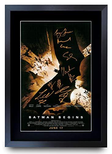 HWC Trading A3 FR Batman Begins Cadeaux Christian Bale Imprimé des Affiches d'image D'Autographes pour Les Fans De Souvenirs De Films Signés - A3 Encadrée