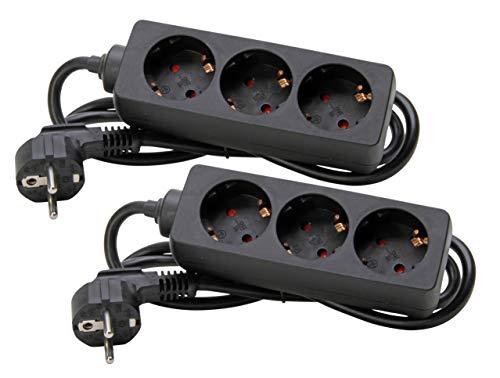 Kopp 128615854 2er Set 3-fach Steckdosenleiste, schwarz, 2 Stück