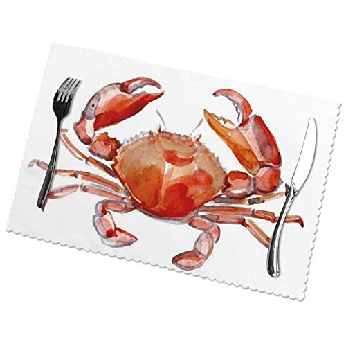 Placematsred Crab Sea Dining Table Table Mats Set of 6 Easy to Clean Wipeable Washable Modern Outdoor Placemats for Dining Kitchen Table Indoor Decorations