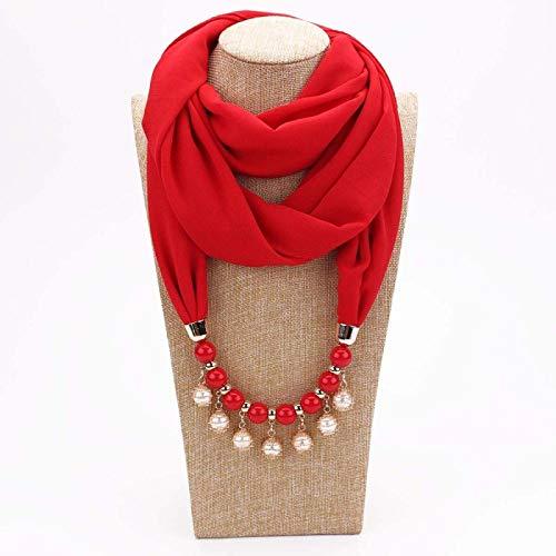 Schal Damen Schal Halskette Für Frauen Mode Perlen Schmuck Halskette Von Muslimischen Sonnenschutz Wrapped Chiffon Schal Geschenk 5