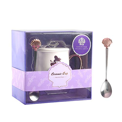 Multibey Mermaid Milk White Coffee Mug Ceramic Tea Cup Seashell Stainless Steel Spoon Set Tumbler with Cover Lid, Purple Box Packed