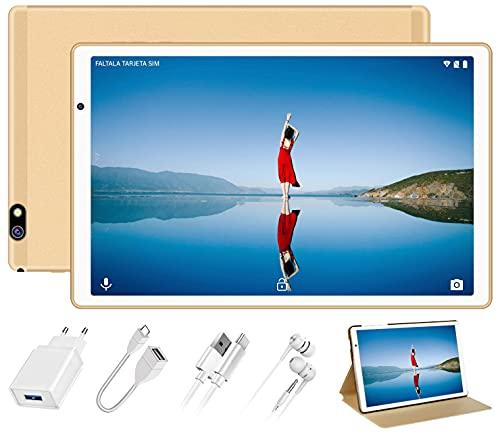 Tablet 10 Pulgadas Android 10.0 FACETEL Tablets 4GB RAM+64GB ROM (TF 128GB) Octa Core,Tablets 5.0+8.0 MP HD la Cámara, Certificación Google GMS,1280 * 800 Full HD Display | Bluetooth | WiFi | -Oro