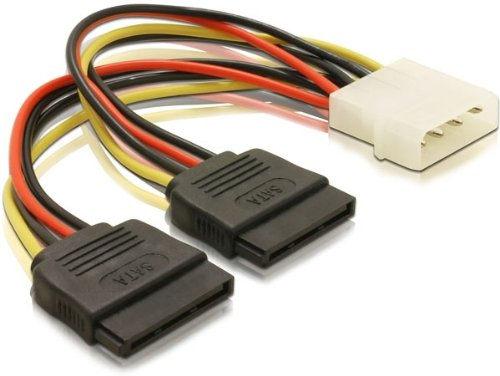 DELOCK 60102 Stromkabel Molex 4 Pin Stecker > 2 x SATA 15 Pin Buchse, 16cm