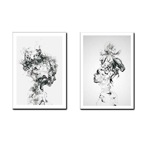 AEVIO Abstract Smoke Girls Wall Art Canvas Print Poster Black and White Photography Art