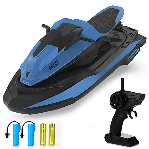 Remote Control Boat, 1:14 Scale 2.4Ghz High Speed RC Racing Boats for Pools and Lakes, Dual Motor, Low Battery Alarm, Speed Switch, Watercraft Toy for 14+ Kids, Blue
