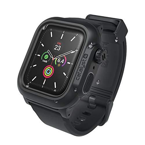 Funda Impermeable Apple Watch Serie 4 44 mm con Banda de Reloj de Silicona Suave de Primera Calidad, Resistente a Impactos, Apple Watch Waterproof Case [Estuche Protector Resistente iWatch] - Negro