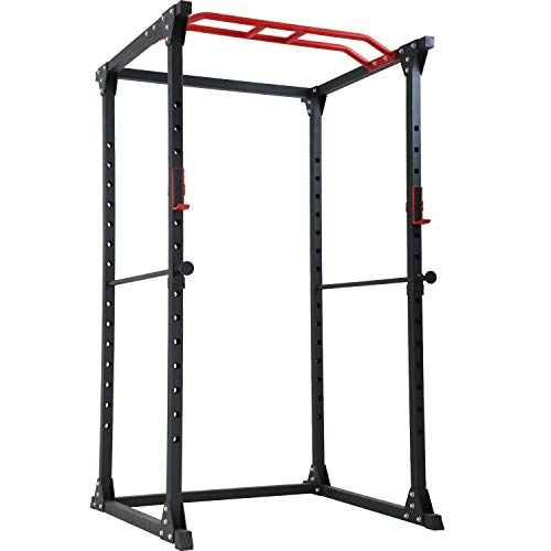 FDW Adjustable Power Cage 800lb Weight Capacity Olympic Power Rack Multi-Function Workout Station Pull-up Bar and Dip Handle Home Gym (Black)