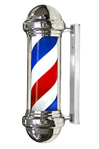 Poste de Barbero Luminoso y Giratorio para Peluquería, Barbería y Salón de Belleza, con Rayas de Colores Rojo Blanco y Azul, Varios Modelos y Colores para Elegir (Modelo B)