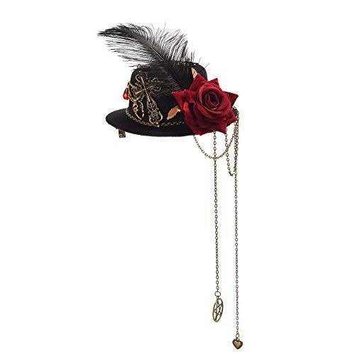 Deluxe felt hat Western mini topper headwear Top hat with feathers,gears and compass Victorian Festivals Cosplay hat Dickens Festival headwears