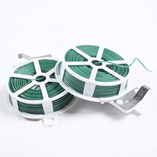 Yardwe 2 Pezzi 50m Fascette da Giardinaggio Legami in plastica per Fissare Cavi di Piante e Legature per Legare Piante,Rampe e tralicci (Verde)