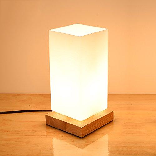TOYM UK Lampe de table décorative Nordic simple créative en verre de bois restaurant bureau lumière de nuit chambre à coucher lampe de chevet