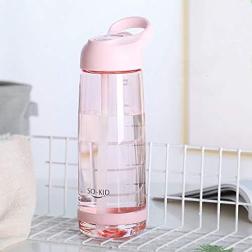 Botella de Agua portátil con Pajita, plástico Saludable, vajilla de Viaje, coctelera Deportiva, Botellas de mi Bebida, Linda Botella de Agua para bebés, 1000 ml, Color Rosa