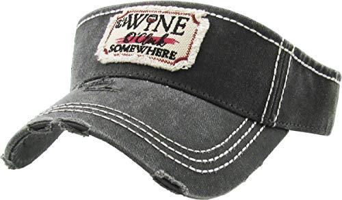 KBR-140 BLK Womens Western Southern Vintage Distressed Sun Visor Hat Adjustable Cap