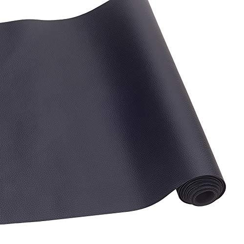 BENECREAT 33x140cm schwarz Kunstleder Stoff Litchi Stoff Canvas Back für Tasche, Hut, Schmuck, Haare basteln, Nähen und Dekorationen