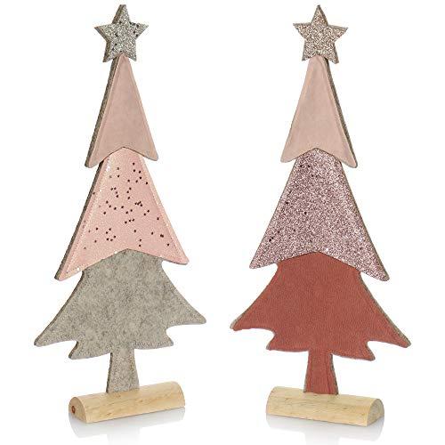 com-four® 2X dekorativer Aufsteller für Weihnachten - Tannenbaum aus Filz mit Fuß aus Massivholz - Weihnachtsbaum als Deko oder Geschenk [Auswahl variiert] (02 Stück Tanne 37cm pink)