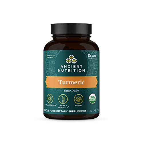 Turmeric Capsules by Ancient Nutrition  Once Daily  Use as a Joint Supplement and Supports Inflammation  Gluten Free  Paleo and Keto Friendly  30 Tablets