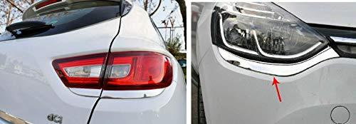 Para CLIO IV HB cubiertas de acero inoxidable cromado de la lámpara trasera y cubiertas de la lámpara delantera (2012-2018)