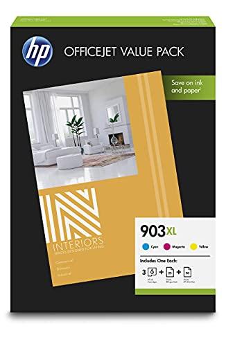 HP 903XL 1CC20AE, Paquete de Ahorro para Oficina, Pack de 3 Cartuchos de Tinta de Alta Capacidad Originales, Cian, Magenta y Amarillo, y 75 Hojas de Papel de Impresión A4
