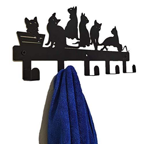 Yubingqin Prácticos Ganchos Decorativos de Pared Tenedor de Llavero Percha de Pared Decoración para el hogar Percha de Capa (Color : Cat)