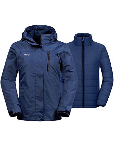 Wantdo Women's Windproof 3 in 1 Skiing Jacket Warm Winter Coat for Snowboarding Navy XL