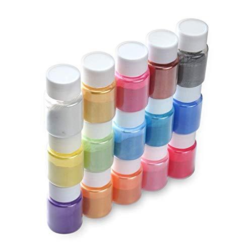 AMhomely® Schleimpulver Epoxidharz Farbe, 15er Farbe Set Metallic Seifenfarbe Set Pigment Wasserlöslich Mica Pulver Slime Powder für DIY Seife Rohseife Epoxidharz Resin (15 PC)