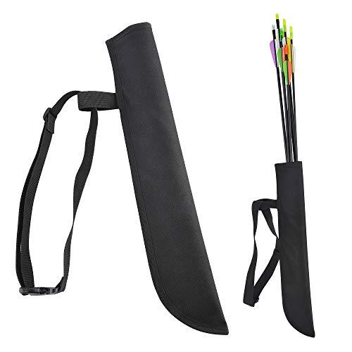AMEYXGS Tiro con Arco Carcaj de Flecha Tubo de Soporte de Flecha cinturón Ajustable Cintura Bolsa de Transporte Accesorios de Caza para Mano Derecha e Izquierda (Negro)