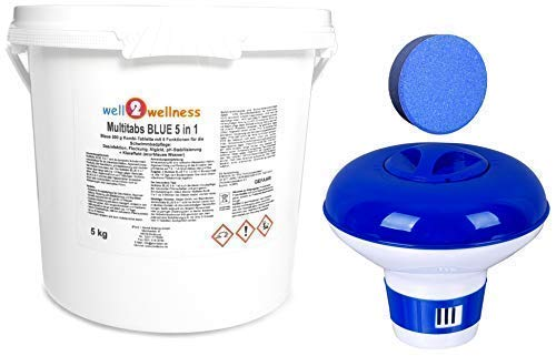 well2wellness Chlor Multitabs Blue 5 in 1 / Blaue Multitabs 5 in 1 200g, 5,0 kg Plus Dosierer