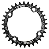 DECKAS Round Oval 104BCD 30T 32T 34T 36T 38T Narrow Wide Chainring Single Chainring for 8/9/10/11-Speed (Round Black, 30T)