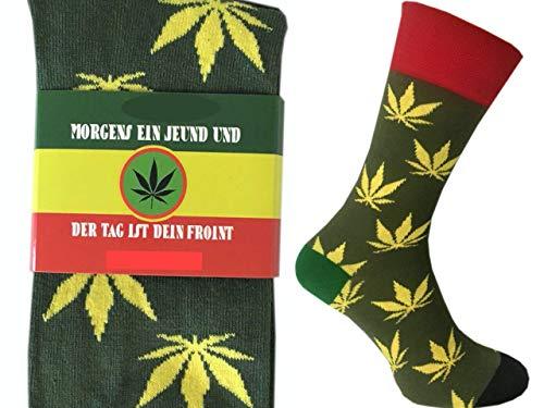 CHiLI Lifestyle Socks - Motivsocken Lustige Socken Bunte Socken Witzige Socken Verrückte Modische Ausgefallene Socken Mehrfarbige Socken Geschenk Baumwolle Strümpfe Coole Socken Reggae Joint, 41-45