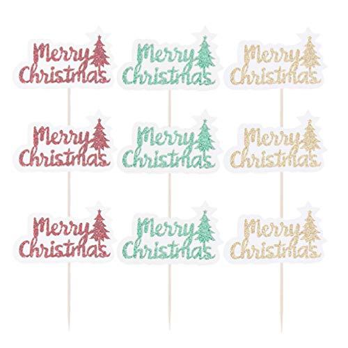 Holibanna 30 Unids Feliz Navidad Topper de La Torta de Navidad Selecciones de La Magdalena Selecciones Creativas de La Torta para La Fiesta de Invierno de Navidad Decoraciones de La Torta