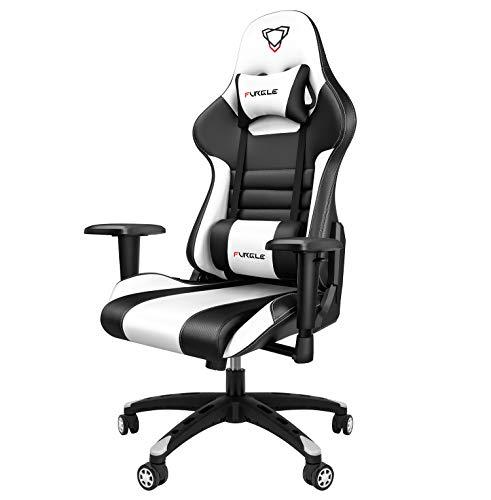 Furgle Gaming Stuhl Bürostuhl PC Stuhl ergonomischer Gaming Stuhl Supersportwagen Designkonzept PU Leder verstellbare Armlehne für E-Sport Office Live-Übertragung (schwarz und weiß)