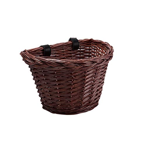 Wicker D-Shaped Bike Basket, Portable Hand-Woven Shopping Basket Folk Craftsmans
