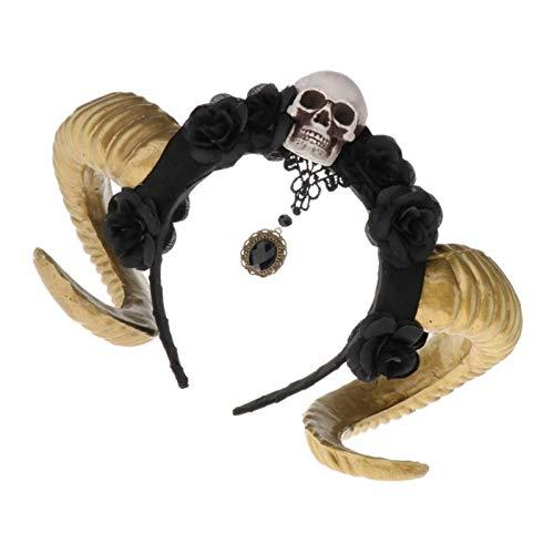 IPOTCH Diadema Divertida de Disfraces de Halloween Banda de Flores con Cuerno de Cabra Calavera Accesorios para Baile de Máscaras