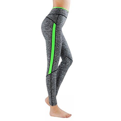 GoVIA L&K-II Leggins para Damas Pantalones Deportivos Largos para Training Running Yoga Fitness Transpirables con Cintura Alta 4113 Verde L/XL